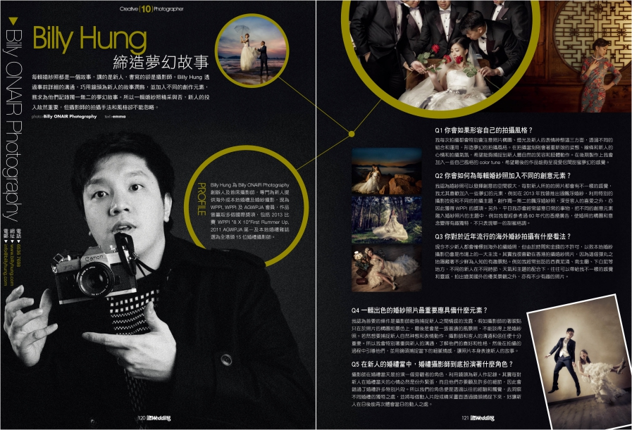 billy onair - wedding magazine